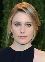 Greta Gerwig kept her look youthful with pink lipstick when she attended the 2013 Vanity Fair Oscar party.