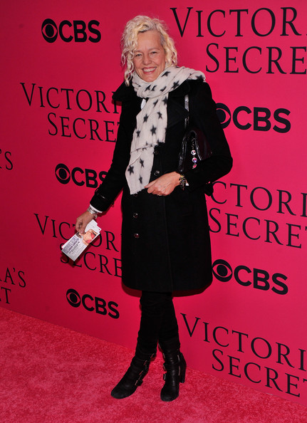 Ellen Von Unwerth was all covered up in a black wool coat and a star-print scarf at the Victoria's Secret fashion show.