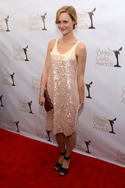 Kerry Bishe's sequined dress had a beautifully languid silhouette and soft cream and pink hues.