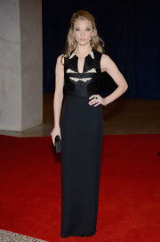 Natalie Dormer chose this column-style black gown with a pearl-studded bodice for her look at the White House Correspondents' Association Dinner.