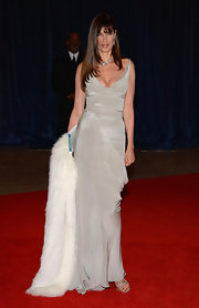 Carol Alt chose a fitted silver gown to wear to the White House Correspondents' Dinner.