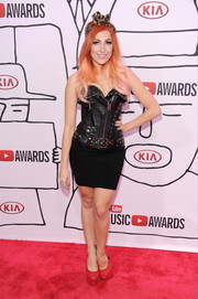 Bonnie McKee amped up the edge factor in a studded leather LBD during the YouTube Music Awards.