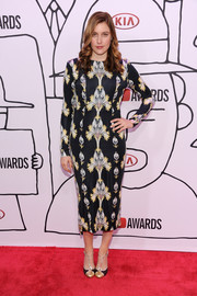 Greta Gerwig chose a long-sleeve print dress by Suno for her YouTube Music Awards look.