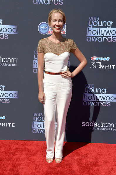 Anna Camp In A White And Gold Jumpsuit Best Dressed At The Young