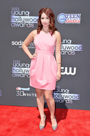 Jillian's cotton candy pink frock showed off her fit figure perfectly.