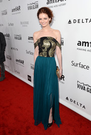 Lydia Hearst attended the amfAR Inspiration Gala looking sophisticated in a Christian Siriano off-the-shoulder gown.