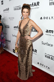 Melissa Bolona was equal parts sexy and chic in a beaded Roberto Cavalli gown during the amfAR Inspiration Gala.