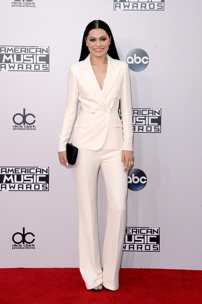Jessie J looked impeccable in a white Prada pantsuit during the American Music Awards.