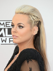 Katy Tiz wore her long hair teased at the top and partially braided at the sides during the American Music Awards.