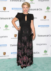 Busy Philipps looked demure at the Baby2Baby Gala in a keyhole-neckline gown with floral beading on the skirt.