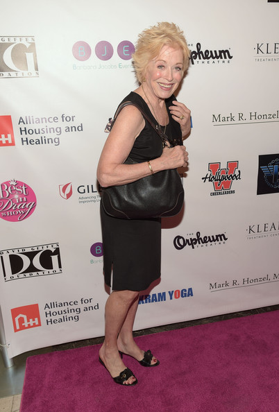 More Pics of Holland Taylor Layered Razor Cut (1 of 3) - Holland Taylor Lookbook - StyleBistro [clothing,red carpet,dress,shoulder,carpet,little black dress,cocktail dress,joint,premiere,footwear,arrivals,holland taylor,orpheum theatre,los angeles,california,best in drag show]