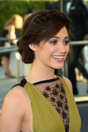 Emmy Rossum rocked a crimped, braided updo at the CFDA Fashion Awards.