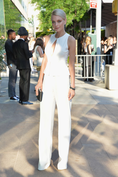Jessica Stam looked impossibly tall and svelte in her white Giulietta peplum jumpsuit during the CFDA Fashion Awards.