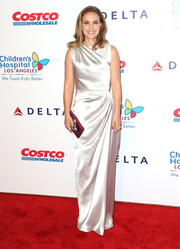 Natalie Portman brought an Old Hollywood feel to the CHLA gala with this draped white gown by Dior.