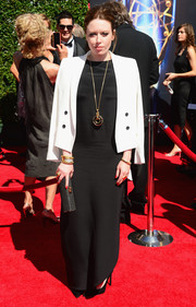 Natasha Lyonne was classic in this monochromatic blazer and evening dress combo.
