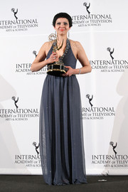 Maryam Ebrahimi chose a flowing gray halter gown for the International Emmy Awards.