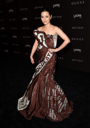 China Chow had fun with her look during the LACMA Art + Film Gala, where she donned this Hershey chocolate wrapper gown by Moschino.