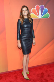 Kate Walsh's yellow Kurt Geiger pumps and black leather dress at the NBC Upfront Presentation were a fierce combination.
