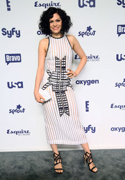 Jessie J continued the geometric motif with a pair of black Gianmarco Lorenzi strappy sandals.