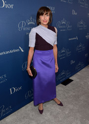 Maguy Maccario-Doyle chose a modern two-tone blouse for the Princess Grace Awards Gala.