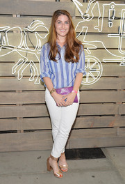 Amelia Diamond went for a boyish vibe in a striped blue button-down during the Coach Summer Party.