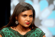 Mindy Kaling's dangling crystal earrings added major sparkle to her outfit at the 2014 Summer TCA Tour.