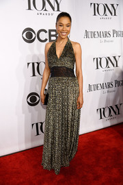 Sophie Okonedo was summer-glam at the Tony Awards in a monochrome micro-print halter gown.