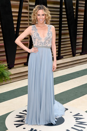 Keltie Knight donned a goddess-worthy pastel-blue gown with an embellished bodice and a flowy skirt for the Vanity Fair Oscar party.