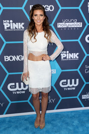 Audrina Patridge opted for a matchy-matchy look with this white lace pencil skirt and crop-top combo.