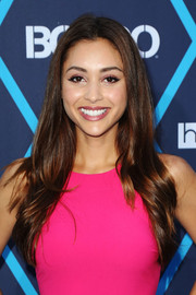 Lindsey Morgan left her long hair down with a center part and feathered ends when she attended the Young Hollywood Awards.