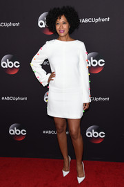Tracee Ellis Ross' Honor LWD at the ABC Upfront event was given a playful touch with the addition of colorful candy-like embellishments down the sides.
