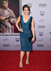 Tina Fey looked subtly sexy at the AFI Life Achievement Award Gala in a teal and black J. Mendel dress in sheer lace with a cleavage-baring neckline.