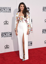 Nina Dobrev looked seriously stylish in a Zuhair Murad high-slit strapless column dress with a matching jacket during the American Music Awards.