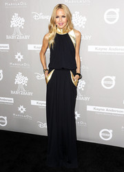 Rachel Zoe looked seriously stylish in a draped black gown with gold accents at the Baby2Baby Gala.