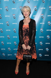 Helen Mirren wore a coral and black print dress to the Broadway.com Audience Choice Awards.