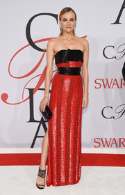 Diane Kruger was sleek and sophisticated in a red and black strapless gown by Prabal Gurung during the CFDA Fashion Awards.
