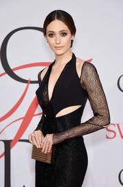 Emmy Rossum's gold box clutch and cutout LBD at the CFDA Fashion Awards were a flawless pairing.