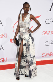 Alek Wek donned an edgy-glam print gown from H&M's Conscious Exclusive collection for the CFDA Fashion Awards.