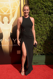 Cat Deeley teamed her dress with silver strappy sandals by Tamara Mellon.