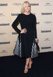 Jane Krakowski looked sharp and chic at the Entertainment Weekly pre-Emmy party in a Bibhu Mohapatra LBD with a striped tail.