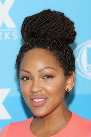Meagan Good looked super funky with her dreadlock bun at the Fox Programming Presentation.