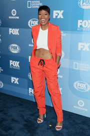 Keke Palmer was sporty-chic in a bright orange pantsuit teamed with a white crop-top at the Fox Programming Presentation.