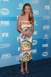 Cat Deeley went for ultra-feminine flair in a colorful fan-print dress by Dolce & Gabbana during the Fox Programming Presentation.