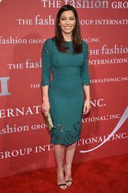 Jessica Biel attended the Night of Stars Gala looking as gorgeous as ever in a fitted green Dolce & Gabbana dress with ladylike cutouts along the neckline and hem.