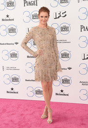 Darby Stanchfield chose a crystal-embellished nude cocktail dress by Teresa Helbig for her Film Independent Spirit Awards look.