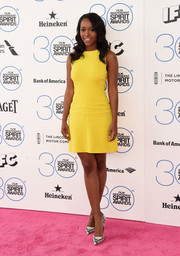 Aja Naomi King donned a simple A.L.C. mini in an exuberant yellow hue for the Film Independent Spirit Awards.