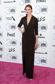 Marcia Cross kept it relaxed yet stylish in a brown button-up shirtdress during the Film Independent Spirit Awards.
