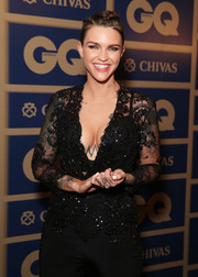 Ruby Rose had a fun braided updo to complement her glam look