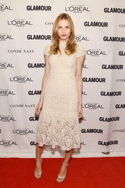 Andreja Pejic looked exquisite in a white lace cocktail dress while attending the Glamour Women of the Year Awards.