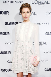 Jessica Hart paired a sweet statement clutch with a white mini dress for the Glamour Women of the Year Awards.
